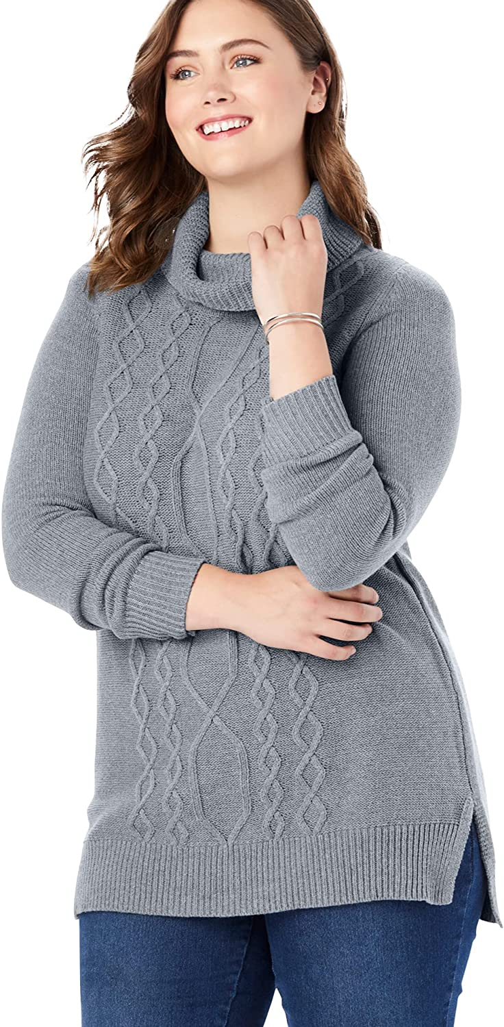 Woman Within Women's Plus Size Turtleneck Cable Long Sleeve Sweater Pullover