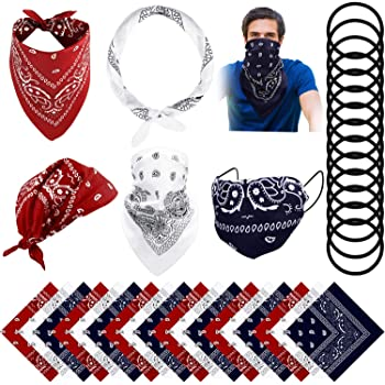 Bright Green, Orange, Sky Blue, Rose Red 8 Pieces Paisley Cowboy Bandana Headband Polyester Unisex Double-Sided Printed Headwraps Wristband Assorted Color Handkerchiefs Party Favor for Men Women Dog