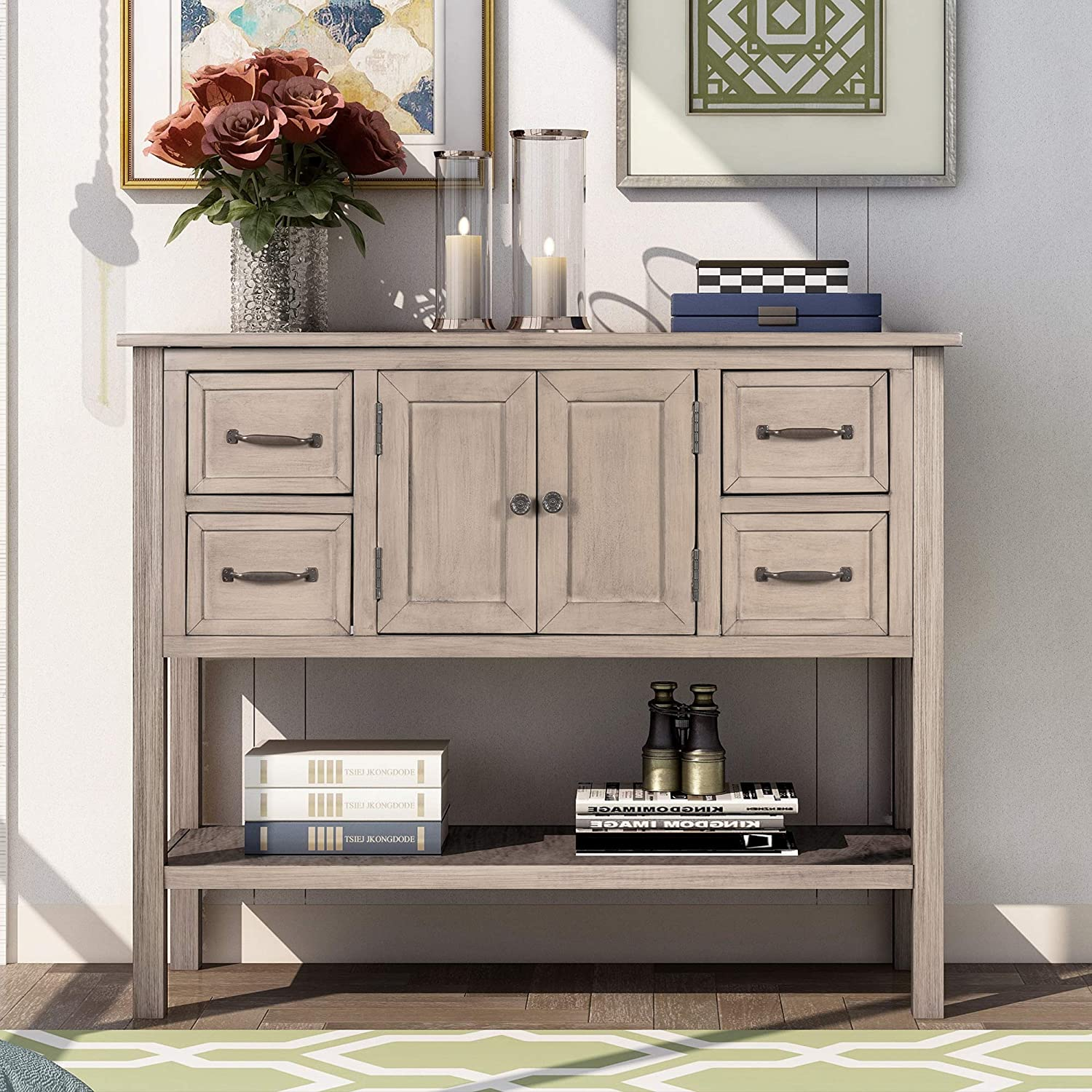 1 year warranty Narrow Console Sofa Table with 4 Shelf and for Drawers Long Special price Livi