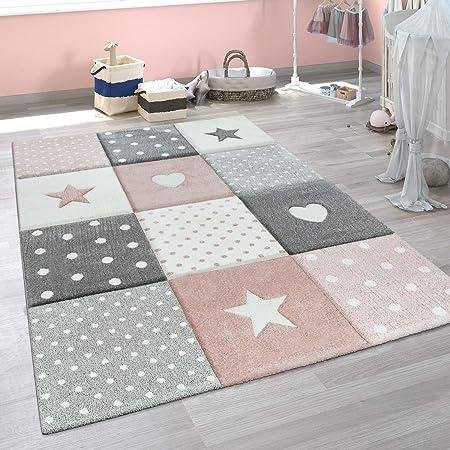 Paco Home Tappeto per Bambini A Quadri Cuori Stelle Diversi Colori e Misure, Dimensione:120x170 cm, Colore:Rosa
