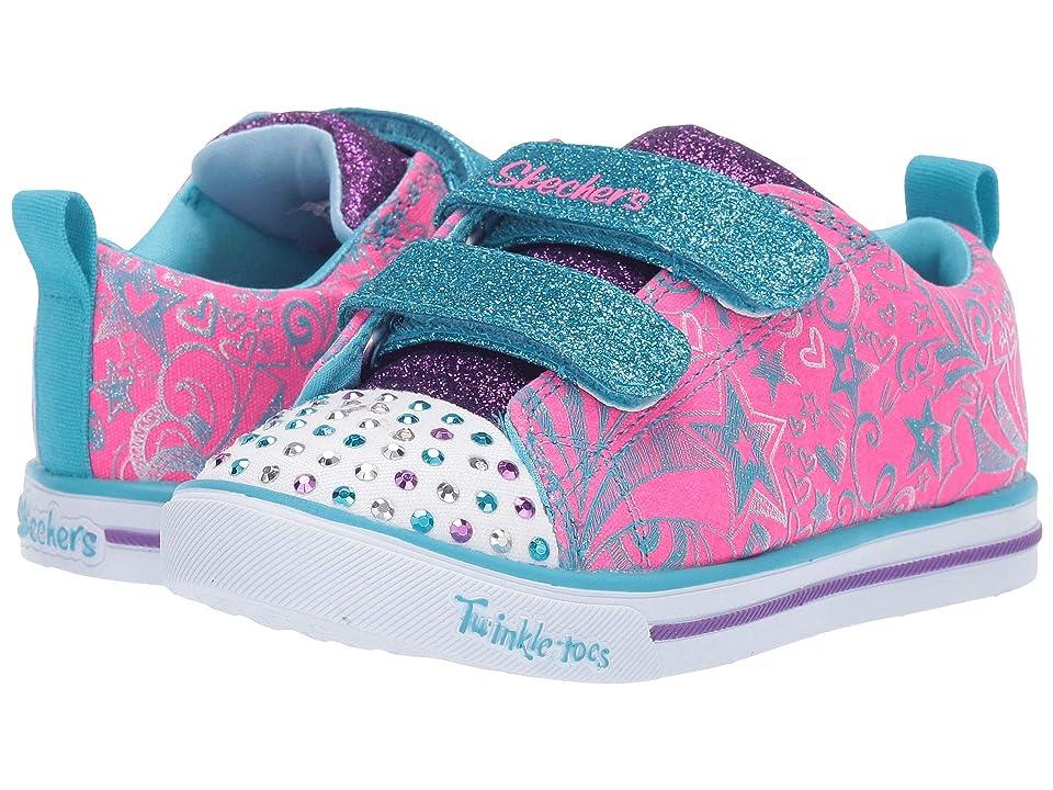 SKECHERS KIDS Sparkle Lite Sparkle Scribble 20145N (Toddler/Little Kid) (Hot Pink/Turquoise) Girl