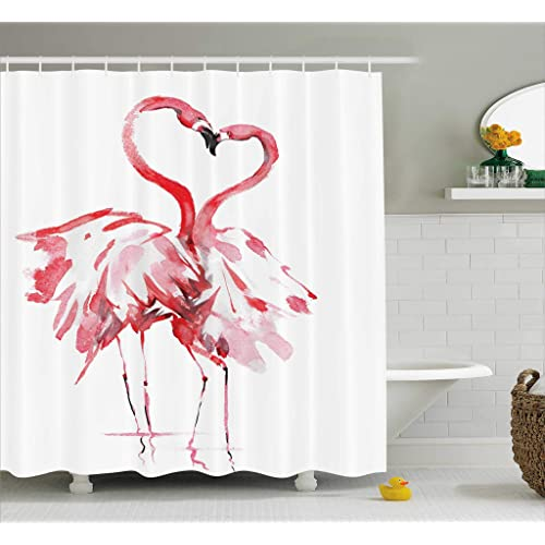 Beau Ambesonne Flamingo Decor Shower Curtain Set, Flamingo Couple Kissing  Romance Passion Partners In Love Watercolor