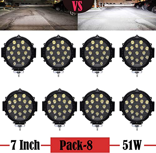 """wholesale 8Pcs 2021 7"""" LED Off-road Work Lights Bar Black discount 51W with Mounting Bracket Round Spot Beam Driving Lamp Headlight Fog Light for Truck Car ATV SUV Jeep, 2 Year Warranty sale"""