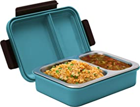 Bento Box with Clip on Lid – Leak Proof 2 Compartment Lunch Box - BPA Free with Stainless Steel Inner Lining for a More Enjoyable Meal or Snack – Dishwasher Safe (Blue)