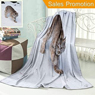 Unique Custom Flannel Blankets Canada Lynx in Winter Super Soft Blanketry for Bed Couch, Throw Blanket 50