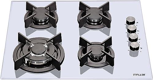 Millar GH6041XEW Plaque de cuisson en Verre trempé avec 4 brûleurs à gaz Blanc 60 cm/Table de Cuisson