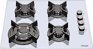 Millar GH6041XEW Plaques de cuisson en Verre trempé avec 4 brûleurs à gaz Blanc 60 cm/Table de Cuisson