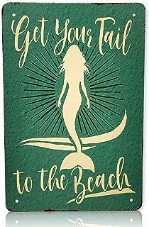 Mermaid Get Your Tail to The Beach Wall Decor | Sirena Mermaids Beach Decor | Mermaid, Naiad, Sea Nymph, Water Sprite Deco...