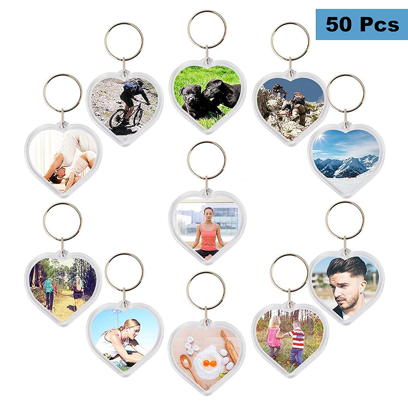 Photo Keychain (50 pcs) - Heart Shaped Acrylic Clear Blank Keyring with Photo Insert - DIY Birthday Wedding Favour Keyring Gifts Acrylic Plastic Photo Blank Snap In Keychains Personalized Picture