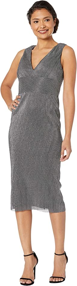 Sleeveless V-Neckline Metallic Chain Mail Knit Midi Dress