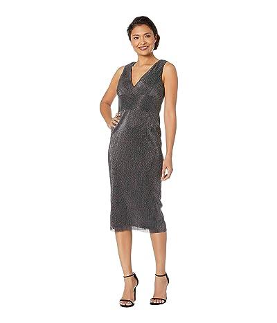 Adrianna Papell Sleeveless V-Neckline Metallic Chain Mail Knit Midi Dress (Black) Women