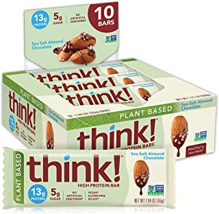 think! (thinkThin) Vegan/Plant Based High Protein Bars - Sea Salt Almond Chocolate, 13g Protein, 5g Sugar, No Artificial S...