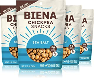 BIENA Chickpea Snacks, Sea Salt | Gluten Free | Vegan | Dairy Free | Plant-Based Protein (4 Pack)