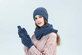 eLUUGIE 3 in 1 Winter Set Fashion Knitted Scarf/Beanie/Touch Screen Gloves For Women Cold Weather (Blue)