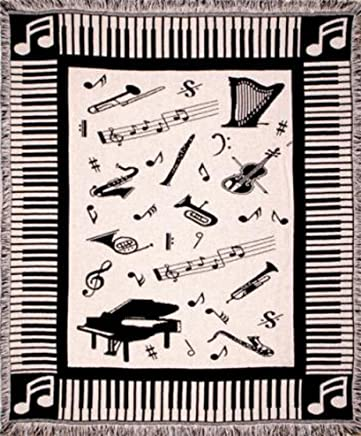 Music Notes Piano & Instruments Afghan Throw Blanket 50 x 60