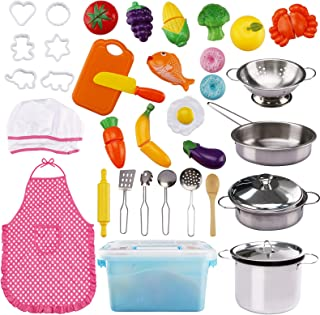 37PCS Pretend Play Toy Kitchen Cooking & Baking with Stainless Steel Cookware Pots & Pans Set, Cooking Utensils Cookie Cut...