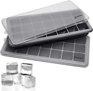 glacio Ice Cube Trays Silicone with Lids - Covered Flexible Ice Trays - Small Ice Cube Molds for Chilled Drinks, Whiskey & Cocktails - Stackable, Dishwasher Safe, BPA Free Mold Tray - Set of 2
