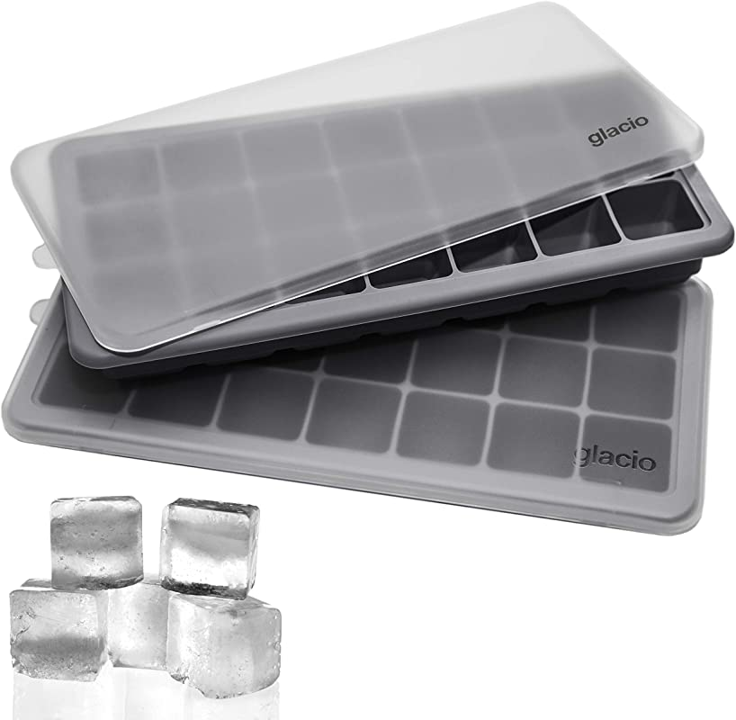 Glacio Ice Cube Trays Silicone With Lids Covered Flexible Ice Trays Small Ice Cube Molds For Chilled Drinks Whiskey Cocktails Stackable Dishwasher Safe BPA Free Mold Tray Set Of 2