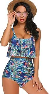 ADOME Tummy Control Swimsuits for Women Ruffled High Waisted Bikini Set Floral Printed Plus Size Swimwear