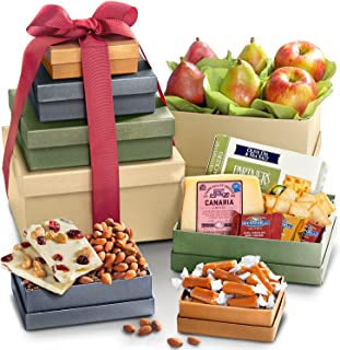 Golden State Fruit Savory & Sweet Tower Of Treats - Gourmet Food for Holiday, Corporate Gifting