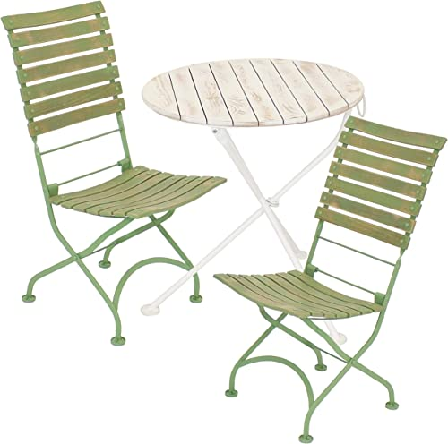 2021 Sunnydaze Cafe Couleur Shabby Chic Chestnut Wooden Folding Bistro Table and Chairs - 3-Piece Set - Indoor or Outdoor Use - European wholesale online Style - Green outlet sale