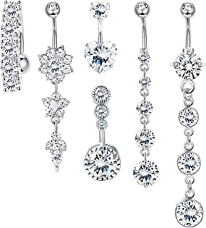 Udalyn 6 Pcs 14G Belly Rings for Women Stainless Steel Navel Rings Body Piercing Jewery Set