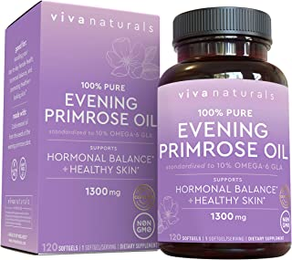 Evening Primrose Oil Capsules with GLA (1300 mg), 120 Softgels, Helps Support Hormone Balance for Women, Cold-Pressed, Glu...