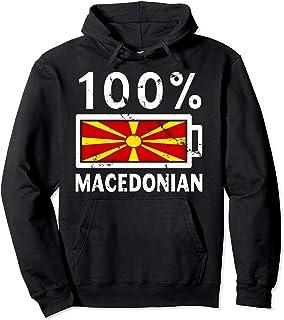 Macedonia Flag Hoodie   100% Macedonian Battery Power Tee