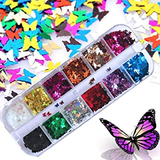 Sponsored Ad - Kalolary 12 Color 3D Butterfly Nail Art Glitter Sequins, Splarkly Laser Butterfly Nail Sequin Acrylic Paill...