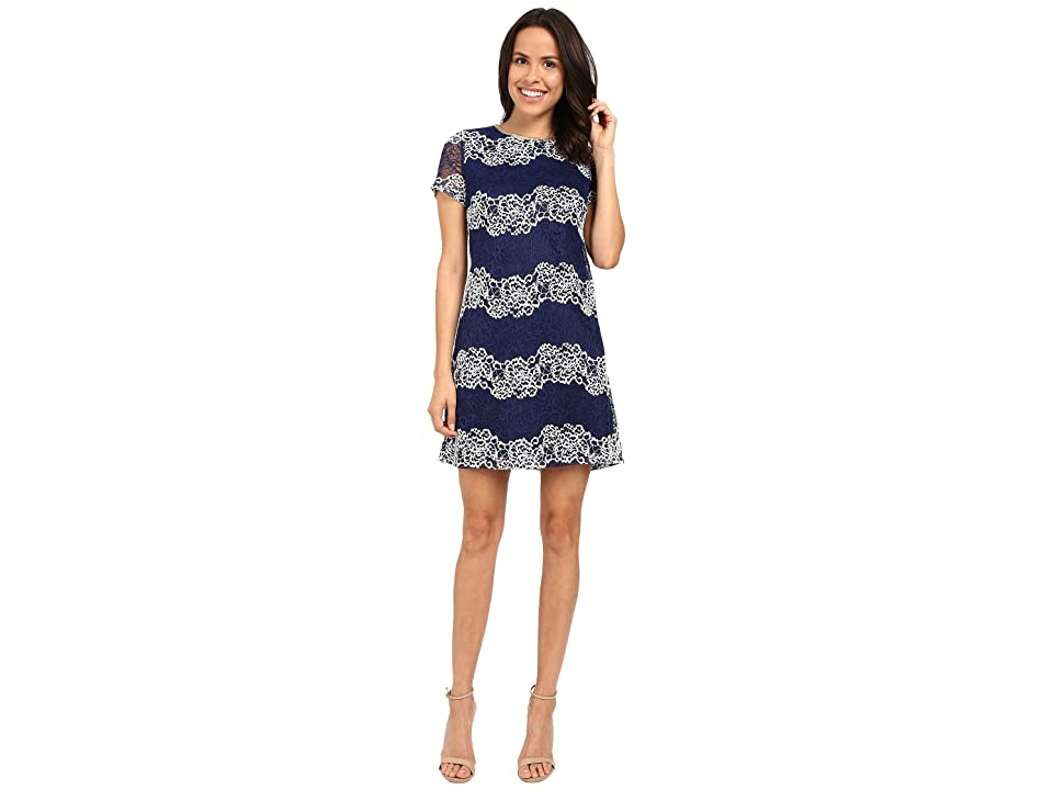 Jessica Simpson Lace Shift Dress JS6D8624 (Navy/White) Women
