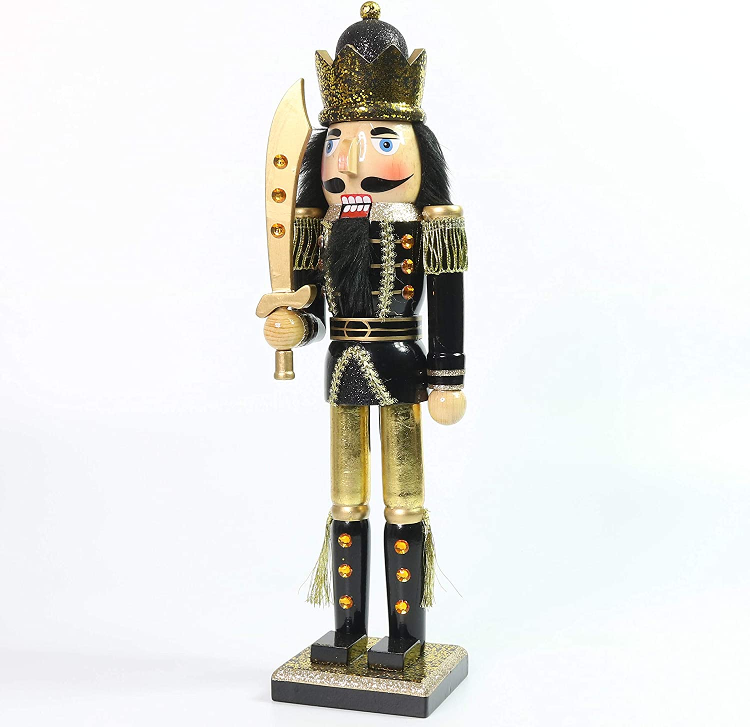 Christmas Holiday Wooden Nutcracker Quality inspection Albuquerque Mall Figure Soldier with Bla King