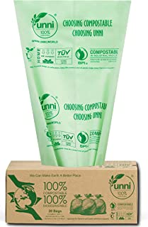 UNNI ASTM D6400 100% Compostable Bags, 30-33 Gallon/124 Liter, 20 Count, Heavy Duty 1.1 Mils Extra Thick Lawn and Leaf Waste Compost Bag, Non-GMO, US BPI & European VINCOTTE OK Compost Home Certified