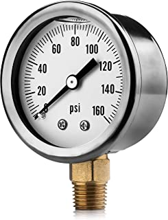 Renator M11-0504T Oil-Filled Water Pressure Gauge. 0-160 PSI. 1/4