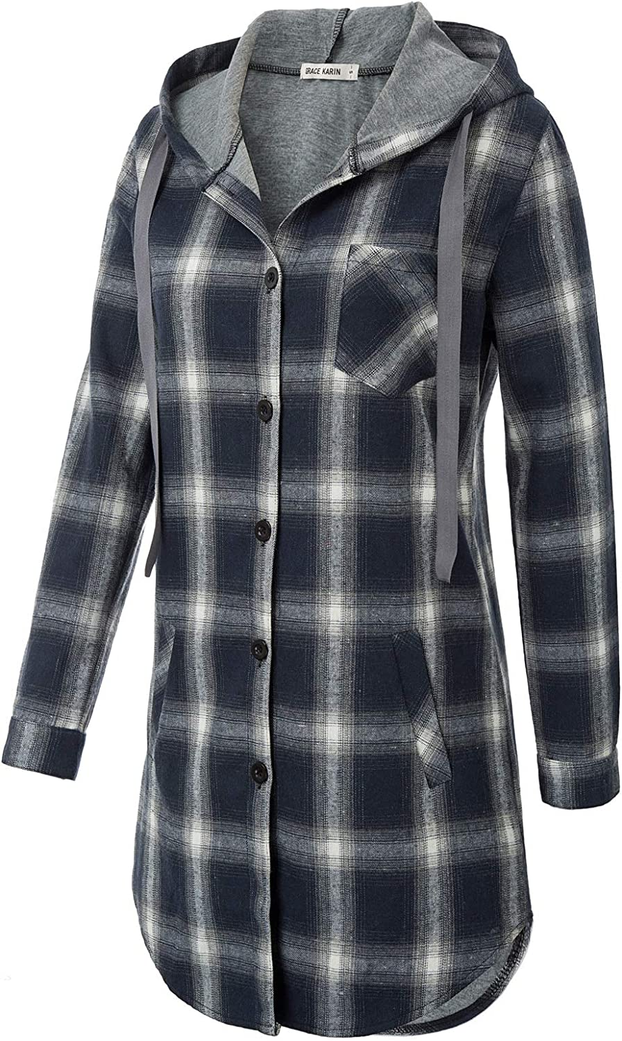Women Flannel Plaid Button Down Top with Pockets Long Sleeve Hooded Jacket