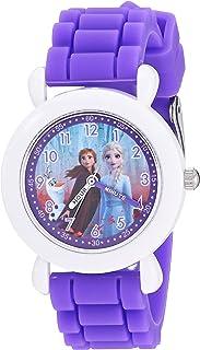 ساعة ديزني للبنات فروزن انالوج كوارتز مع حزام سيليكون، 16 موديل WDS000818