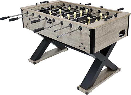 2021 Sunnydaze popular Delano Foosball Table with Gray Distressed Wood Look - 54.5-Inch Indoor Heavy Duty Soccer Game Table - Table for Gameroom, Man Cave or new arrival Basement - Fun for The Whole Family online
