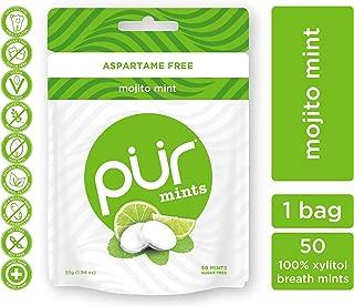 PUR 100% Xylitol Breath Mints, Mojito Lime Mint, 50 Count (Pack of 1)- Sugar-Free + Aspartame Free, Vegan + non GMO