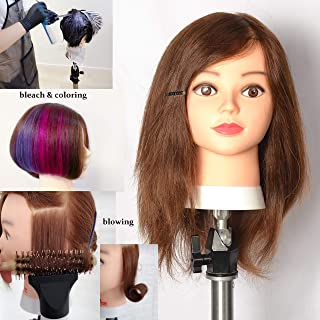 16 inch 100% Human Hair Mannequin Manikin Hair Cutting and Braiding Professional Training Cosmetology Head with Real Virgin Human Hair
