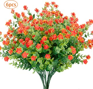 YOUZAN 6 Bundles Artificial Flowers Fake Outdoor UV Resistant Plants Faux Plastic Greenery Boxwood Shrubs for Indoor Outside Hanging Planter Home Kitchen Wedding Garden Patio Decor (Orange Red)