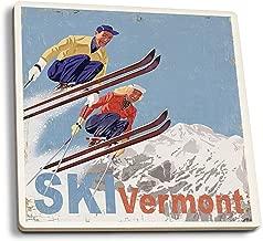 Lantern Press Ski Vermont - Vintage Skiers (Set of 4 Ceramic Coasters - Cork-Backed, Absorbent)