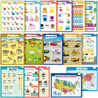 merka Educational Posters - Kindergarten Set - 16 Large Posters - Learn The Letters, Numbers, Shapes, Colors, Trucks, Animals, USA Map and More - Great for Home and Schools - Size 17 x 22 inches