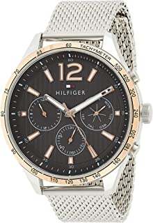 Tommy Hilfiger Men's Black Dial Stainless Steel Band Watch - 1791466