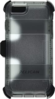 Pelican Voyager Rugged Case with Kickstand Holster for iPhone 6/6s - Retail Packaging - Clear & Gray