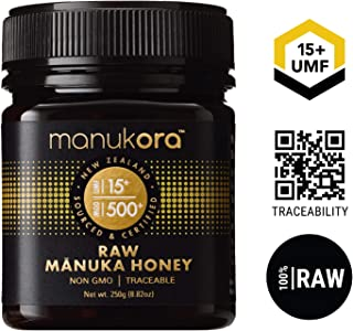 Manukora UMF 15+/MGO 500+ Raw Mānuka Honey (250g/8.8oz) Authentic Non-GMO New Zealand Honey, UMF & MGO Certified, Traceable from Hive to Hand