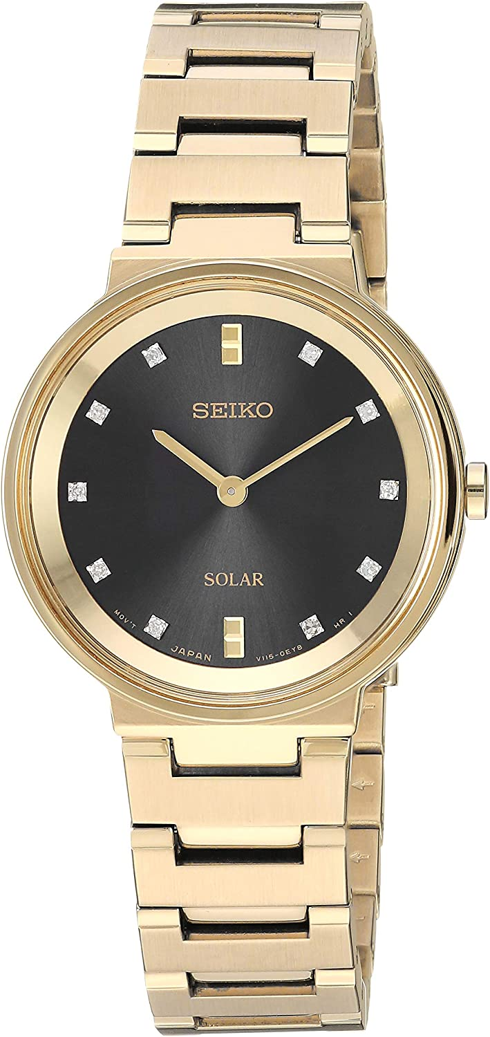 Seiko Womens Ladies Dress Stainless Steel Japanese-Quartz Watch with Stainless-Steel Strap, Gold, 13.6 (Model: SUP396)