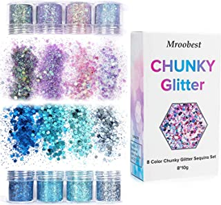 Holographic Chunky Glitters, Cosmetic Glitters Flakes, Body Glitter Set - 8 Colors, Use for Face Nails Eyes Lips Hair Body, Make Up Glitter Paillette Music Festival Masquerade - 8 boxes 10ML