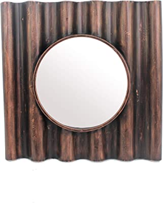 Benjara Traditional Wooden Round Mirror with Panpipe Style Frame, Brown