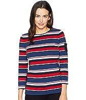 Lightweight Stripe Cotton Jersey 3/4 Knit