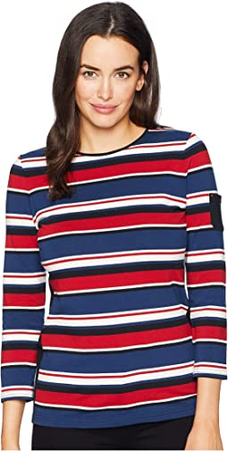 Lightweight Stripe Cotton Jersey 3/4 Knit