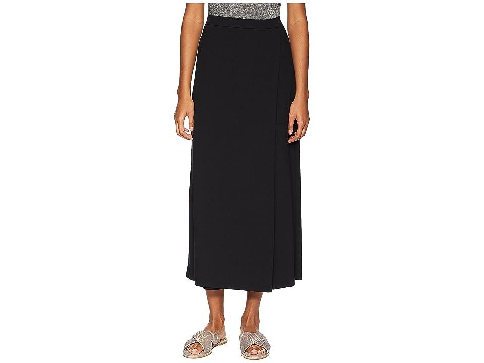 Eileen Fisher Viscose Jersey Faux Wrap Ankle Pants (Black) Women
